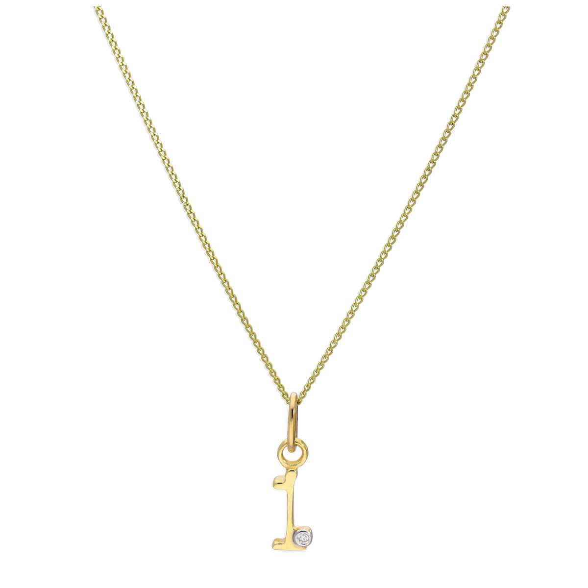9ct Yellow Gold Single Stone Diamond 0.4 points Letter I Necklace Pendant 16 - 20 Inches