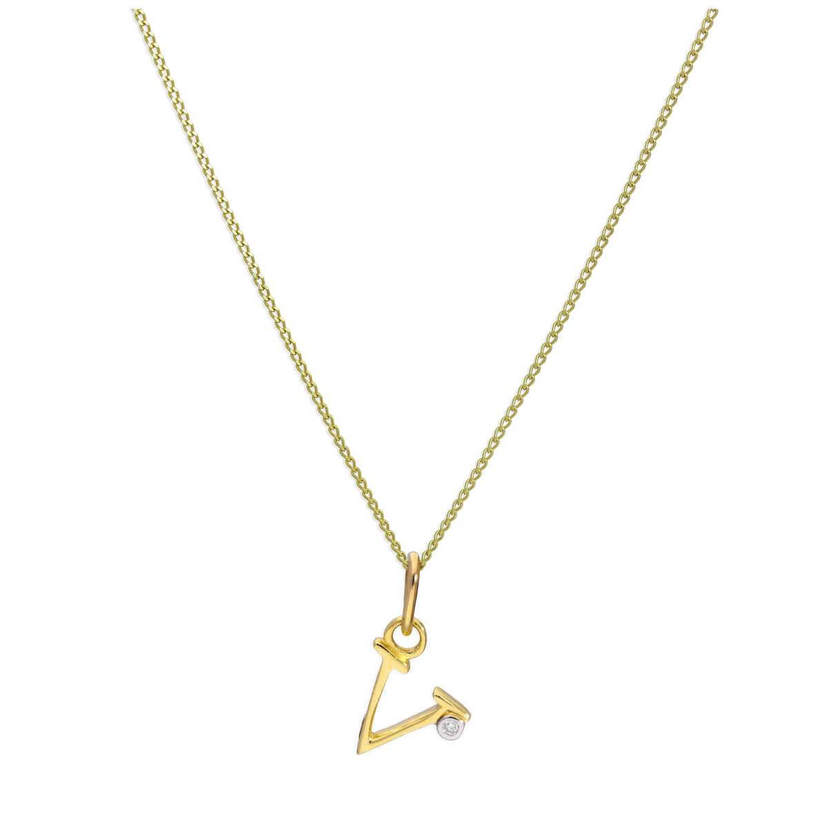 9ct Yellow Gold Single Stone Diamond 0.4 points Letter V Necklace Pendant 16 - 20 Inches