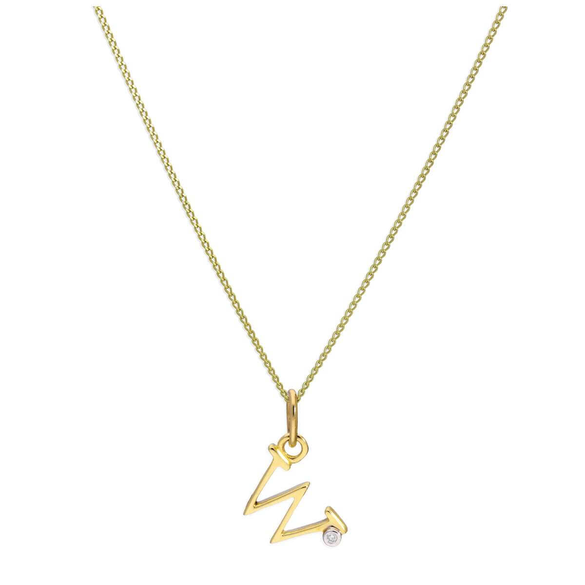 9ct Yellow Gold Single Stone Diamond 0.4 points Letter W Necklace Pendant 16 - 20 Inches