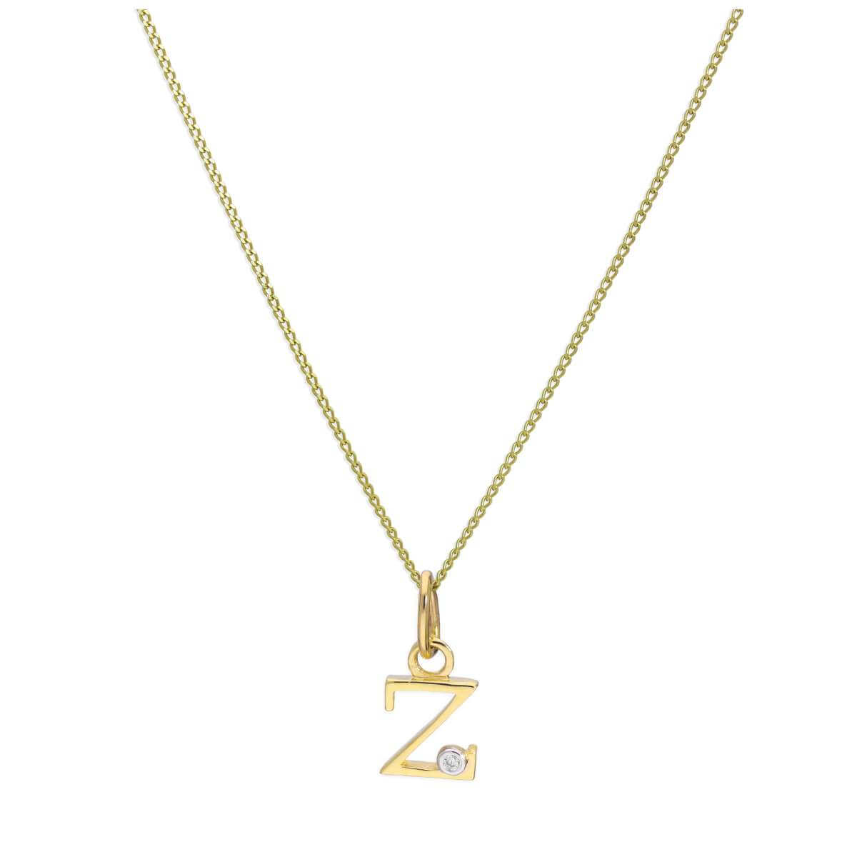9ct Yellow Gold Single Stone Diamond 0.4 points Letter Z Necklace Pendant 16 - 20 Inches