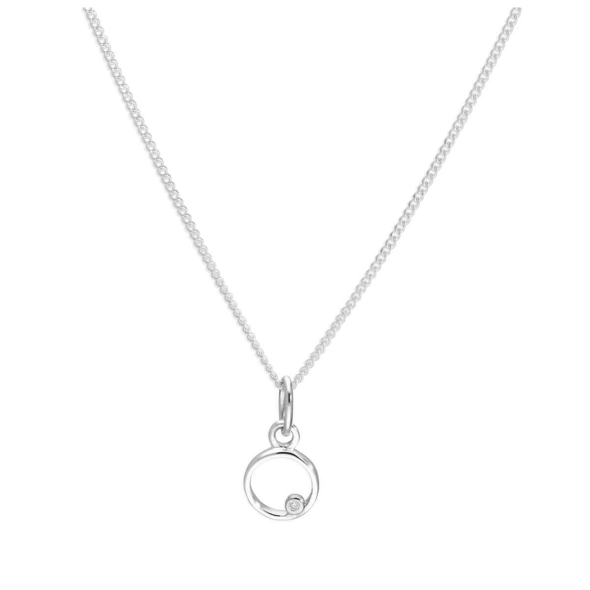 Sterling Silver Single Stone Diamond 0.4 points Letter O Necklace Pendant 14 - 32 Inches