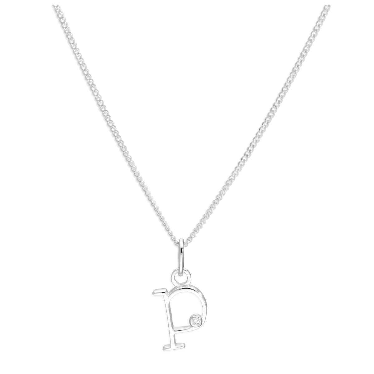 Sterling Silver Single Stone Diamond 0.4 points Letter P Necklace Pendant 14 - 32 Inches