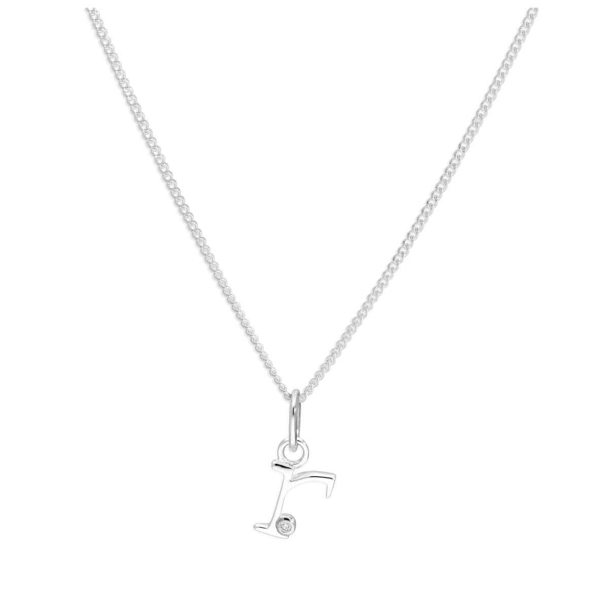 Sterling Silver Single Stone Diamond 0.4 points Letter R Necklace Pendant 14 - 32 Inches