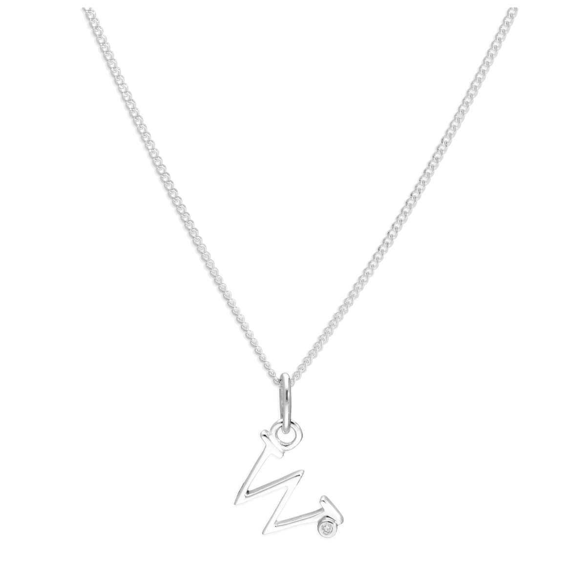 Sterling Silver Single Stone Diamond 0.4 points Letter W Necklace Pendant 14 - 32 Inches