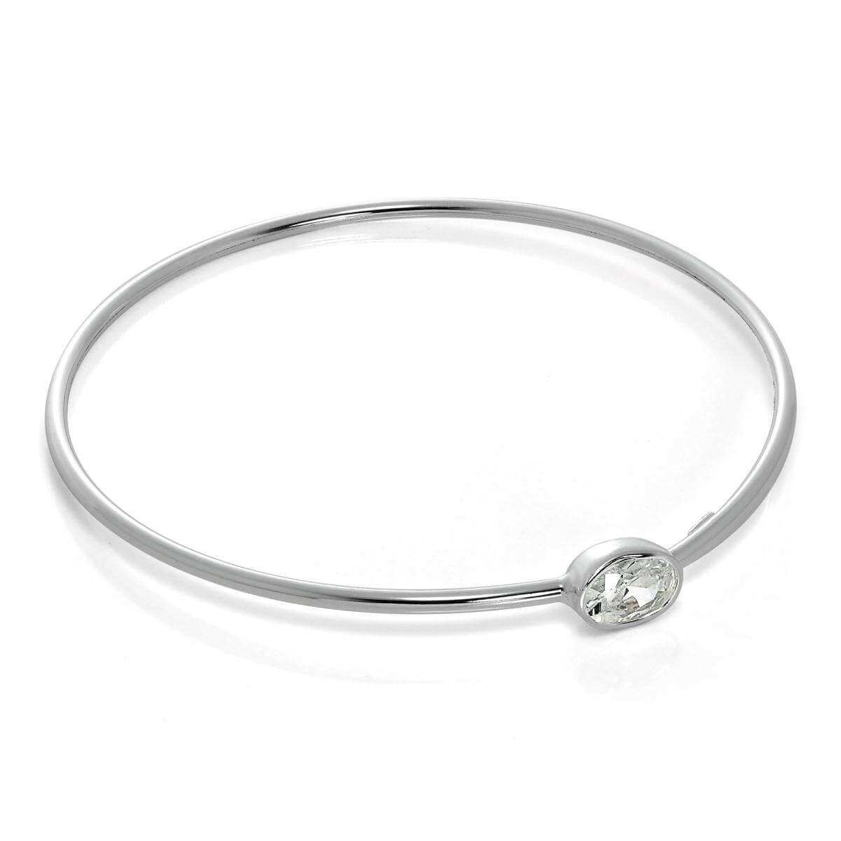 Sterling Silver Maiden Bangle with Clear CZ Crystal