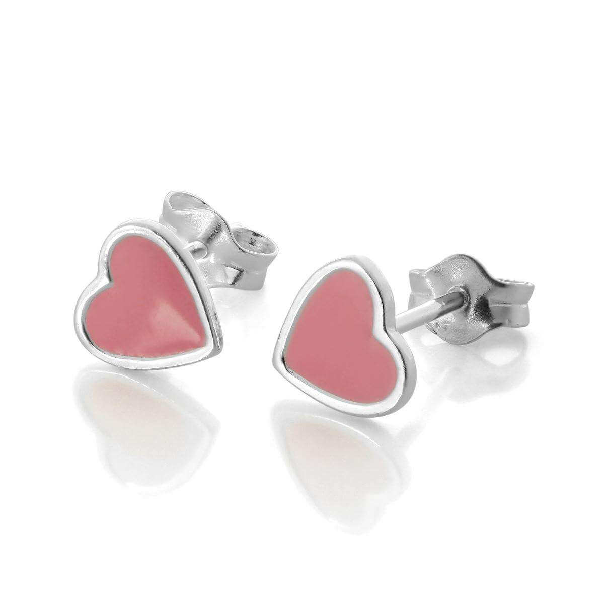 Sterling Silver Pink Enamel Heart Stud Earrings
