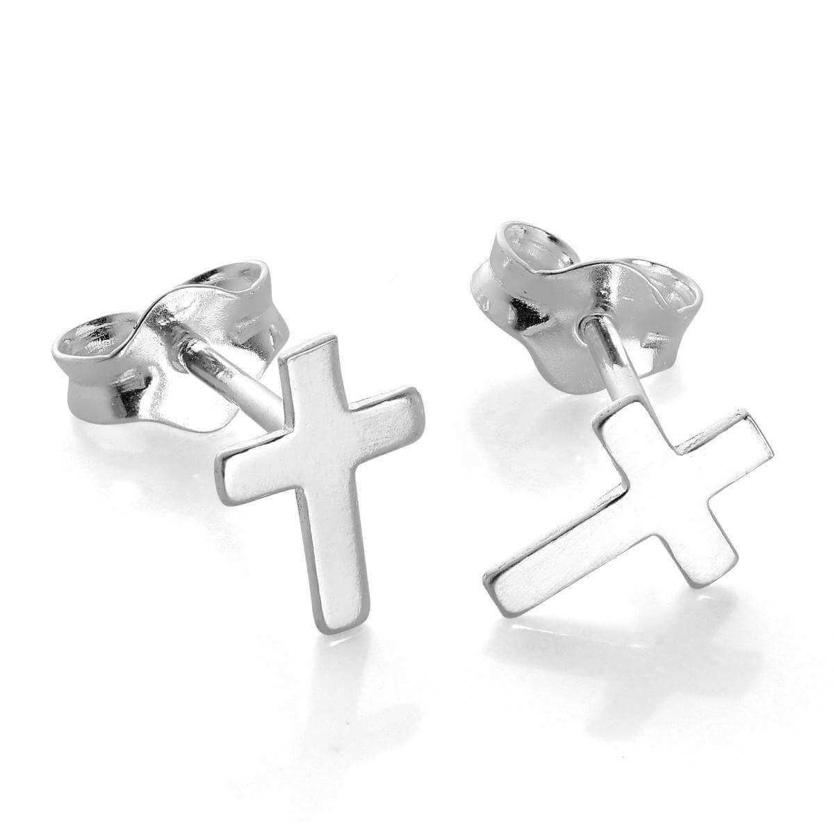 Small Sterling Silver Cross Stud Earrings