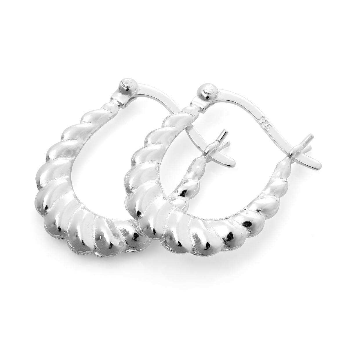 Heavy Sterling Silver Twisted Creole Hoop Earrings