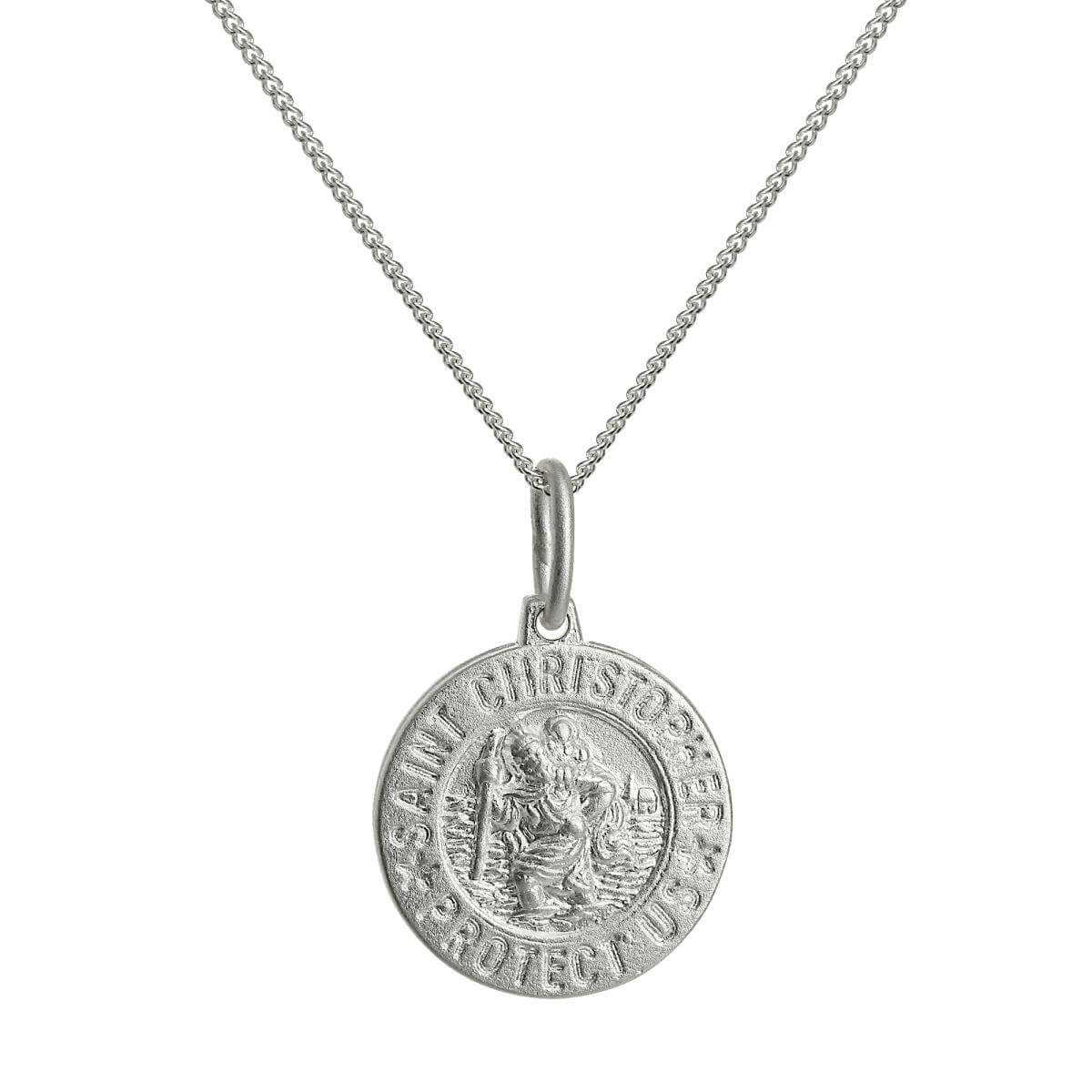 Small Sterling Silver St Christopher Medal Pendant Necklace 16 - 22 Inches