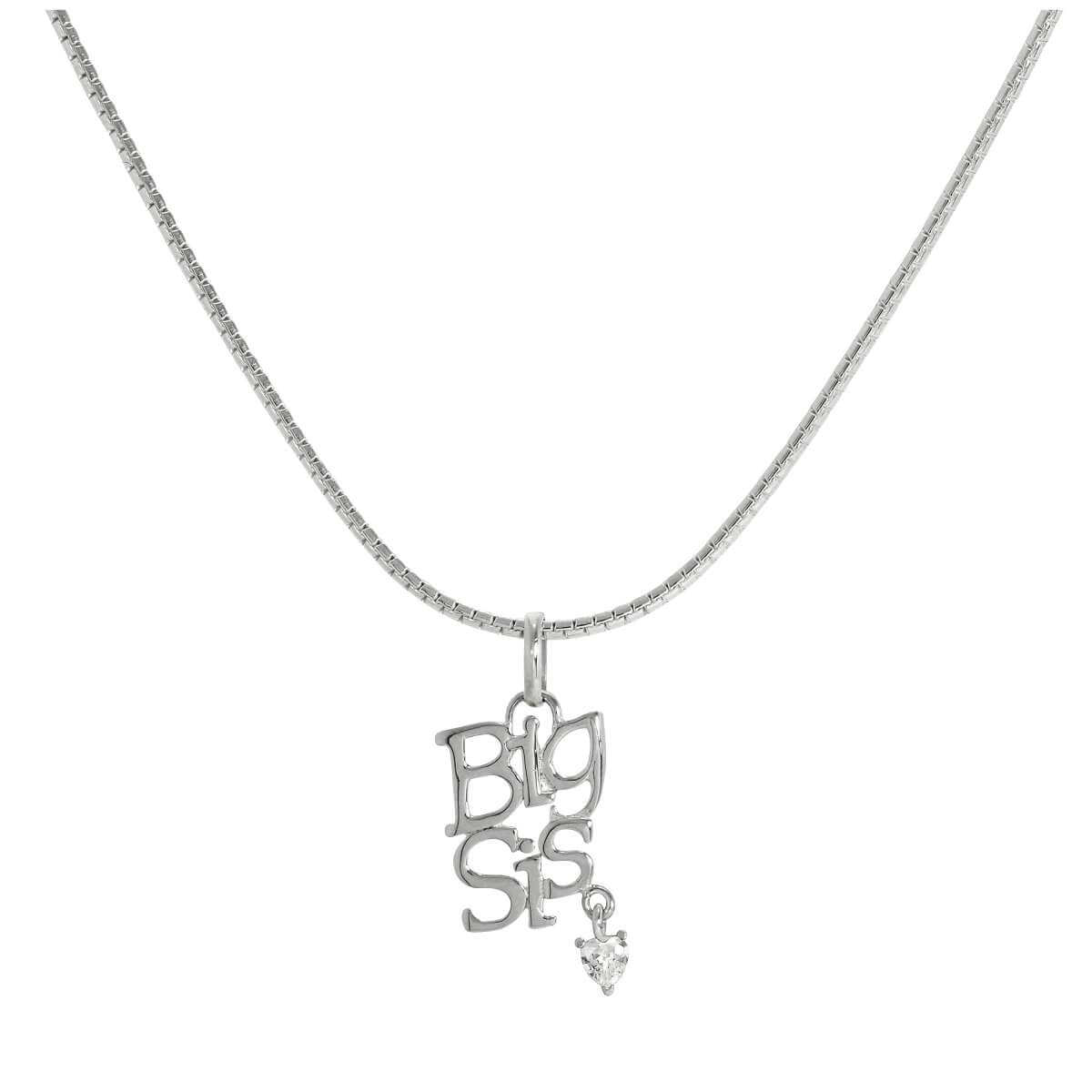 Sterling Silver Big Sis Pendant with CZ Crystal Heart on Chain 16 - 24 Inches