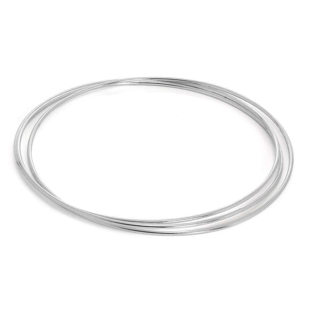 Simple Sterling Silver Maidens Triple Russian Bangle