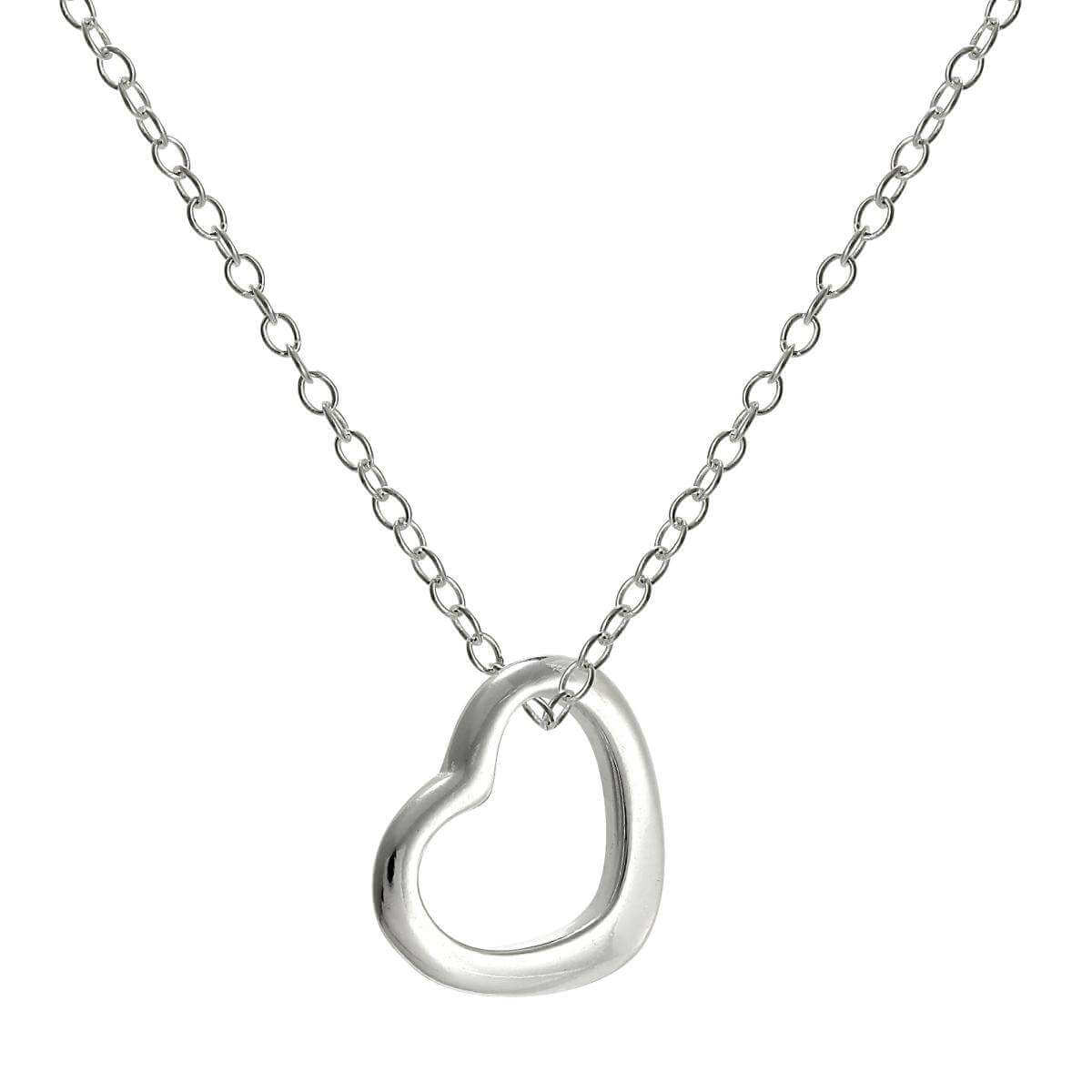 Sterling Silver Open Heart Pendant on 18 Inch Chain