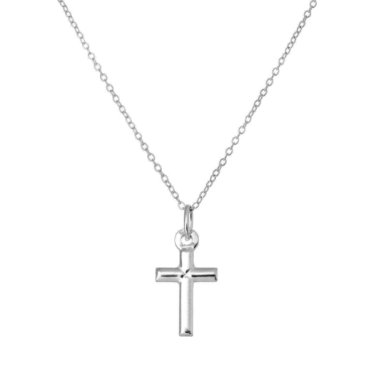 Simple Sterling Silver Cross Pendant on 18 Inch Trace Chain