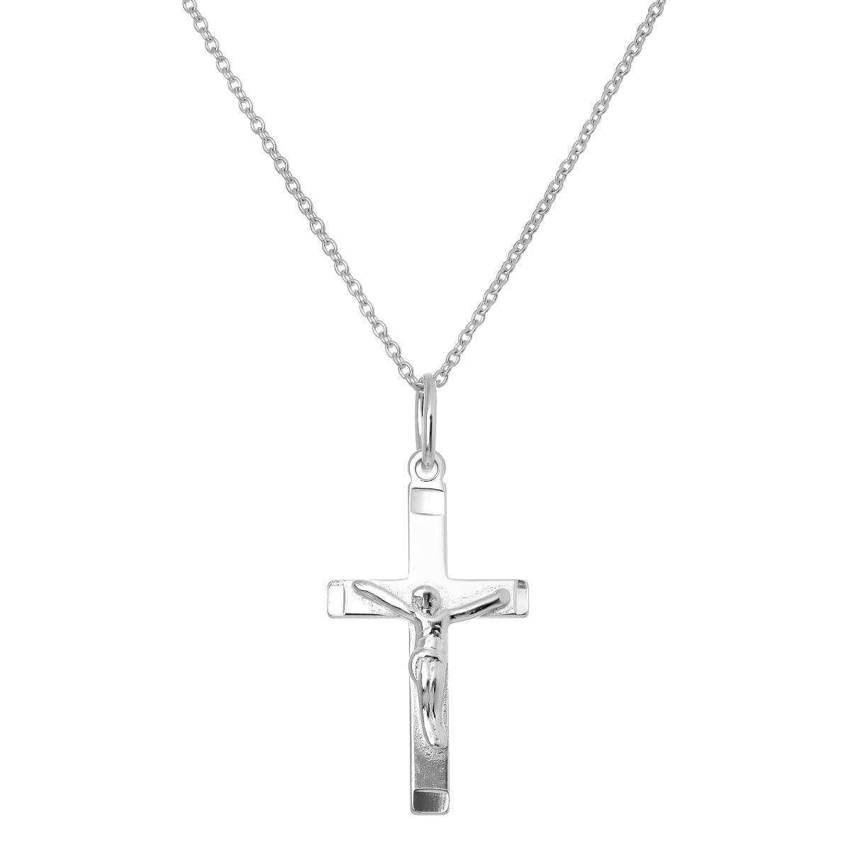 Sterling Silver Crucifix Cross Pendant Necklace 16 - 22 Inches