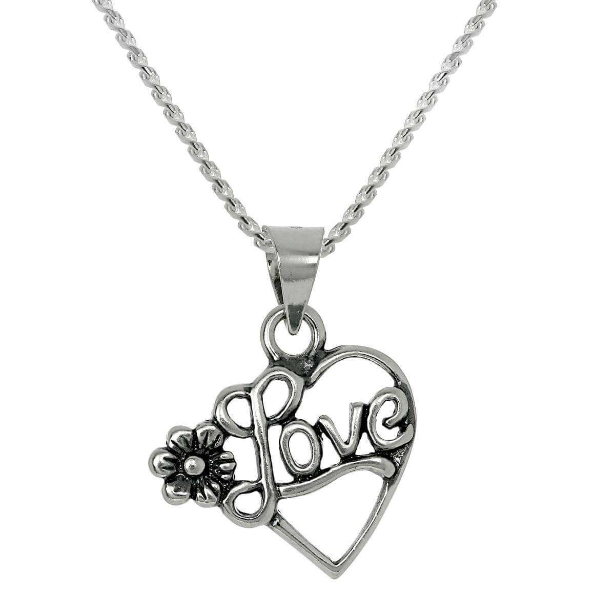 Sterling Silver Open Love Heart Pendant Necklace with Flower 16 -22 Inches