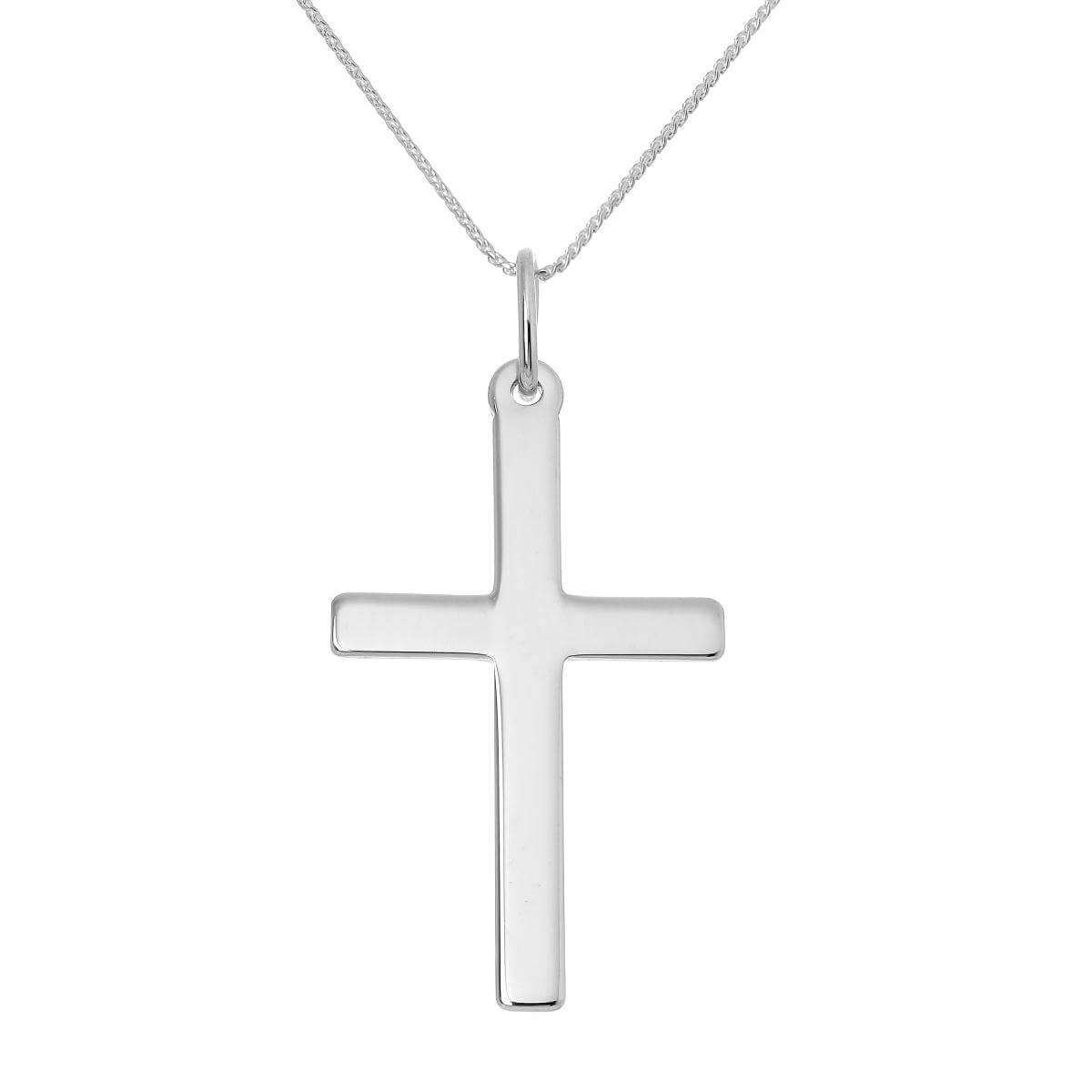 Large Sterling Silver Cross Pendant Necklace 16 - 22 Inches