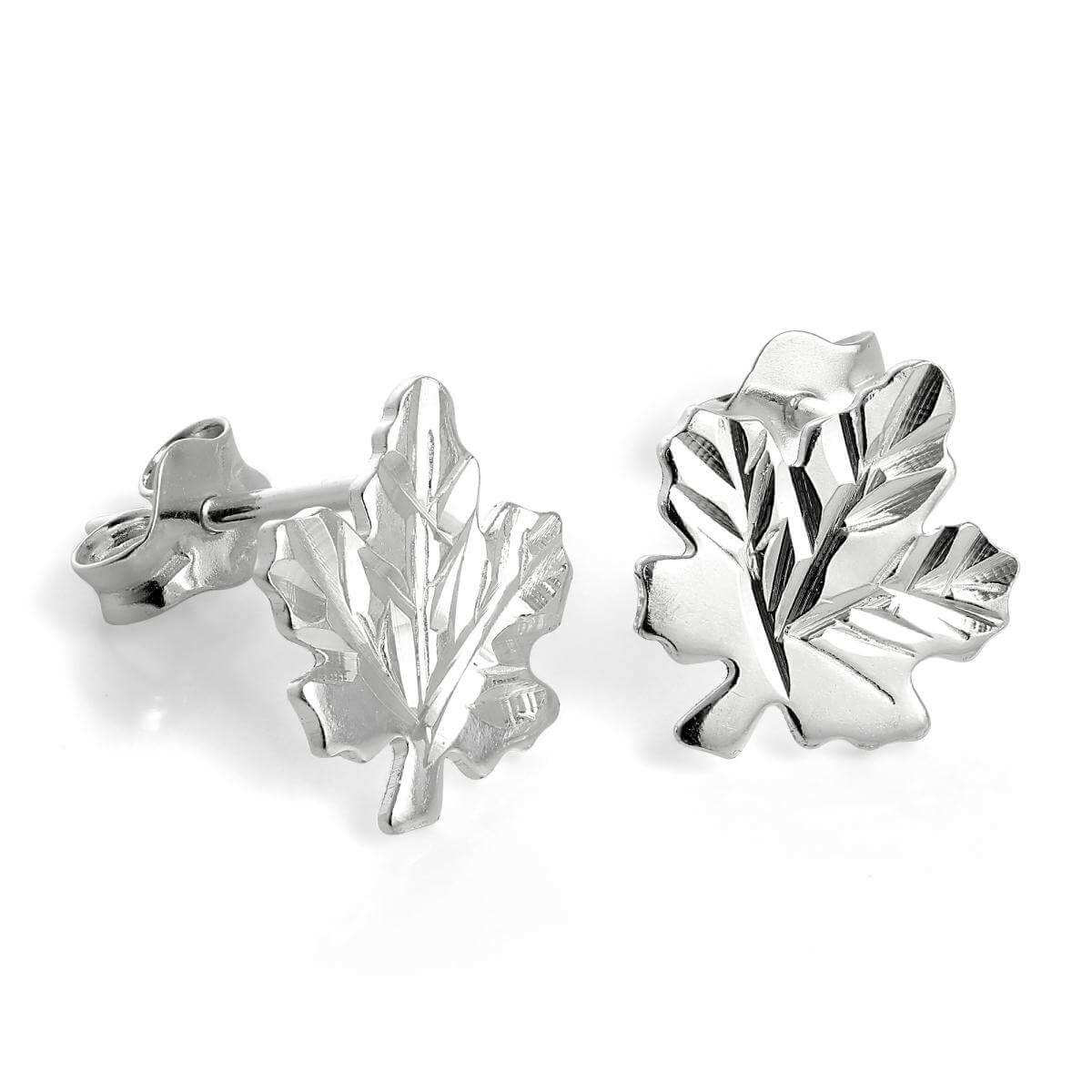 Sterling Silver Maple Leaf Stud Earrings