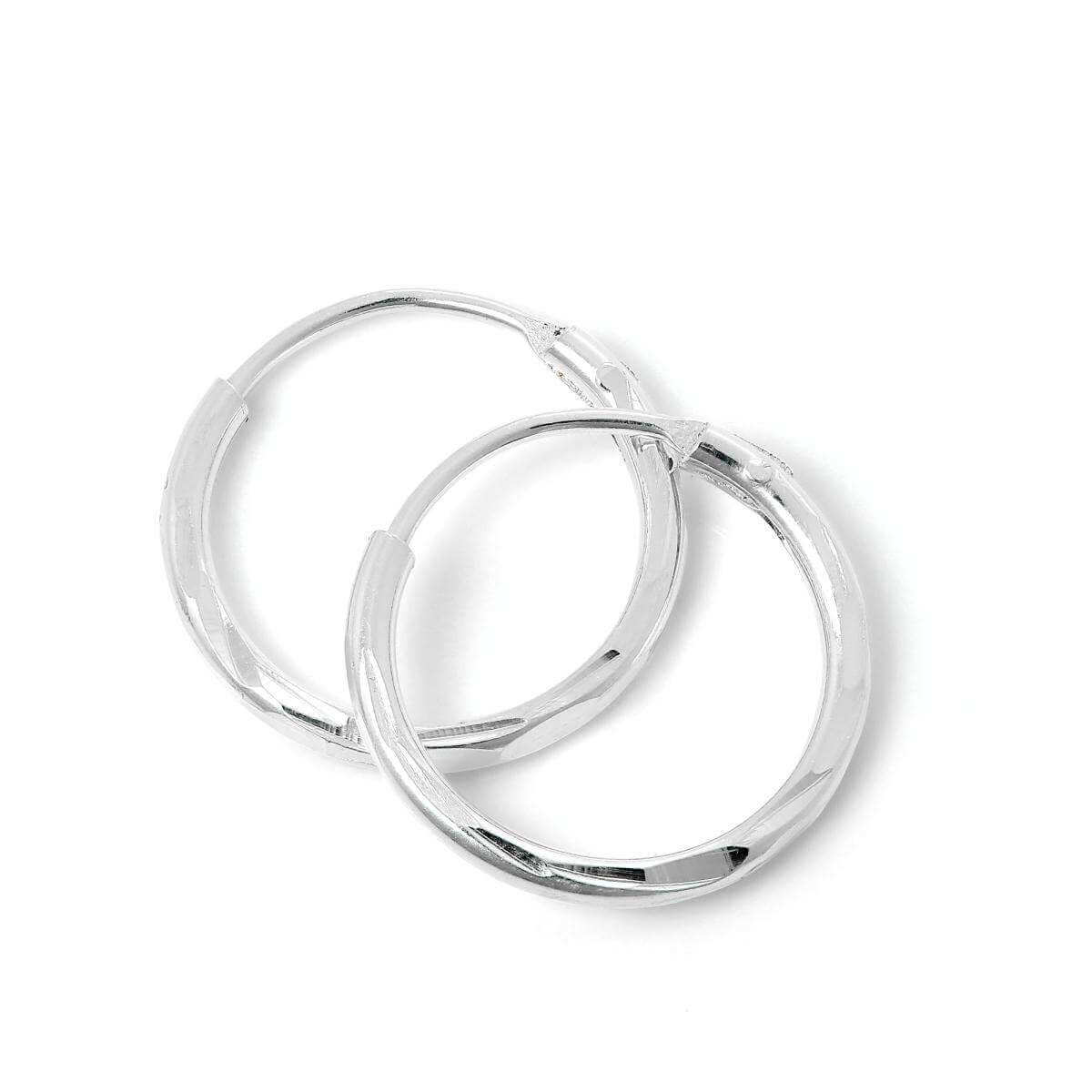 Sterling Silver Diamond Cut Sleeper 12mm Hoop Earrings