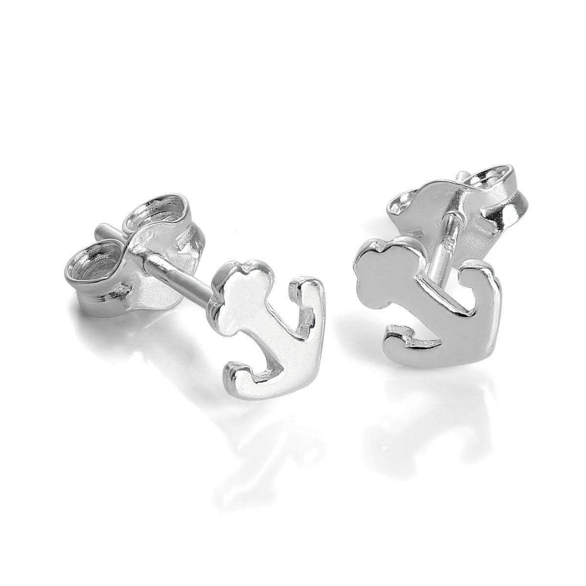 Small Sterling Silver Anchor Stud Earrings