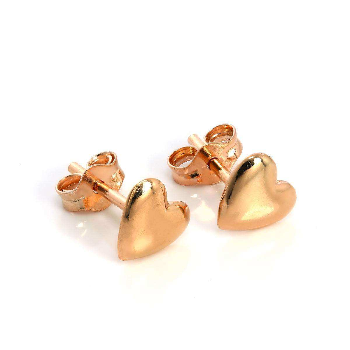 Rose Gold Plated Sterling Silver Heart Stud Earrings