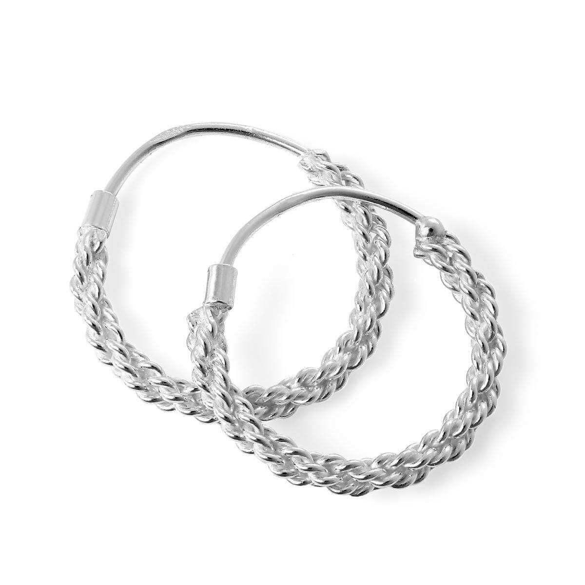 Sterling Silver Twisted Rope Sleeper 16mm Hoop Earrings
