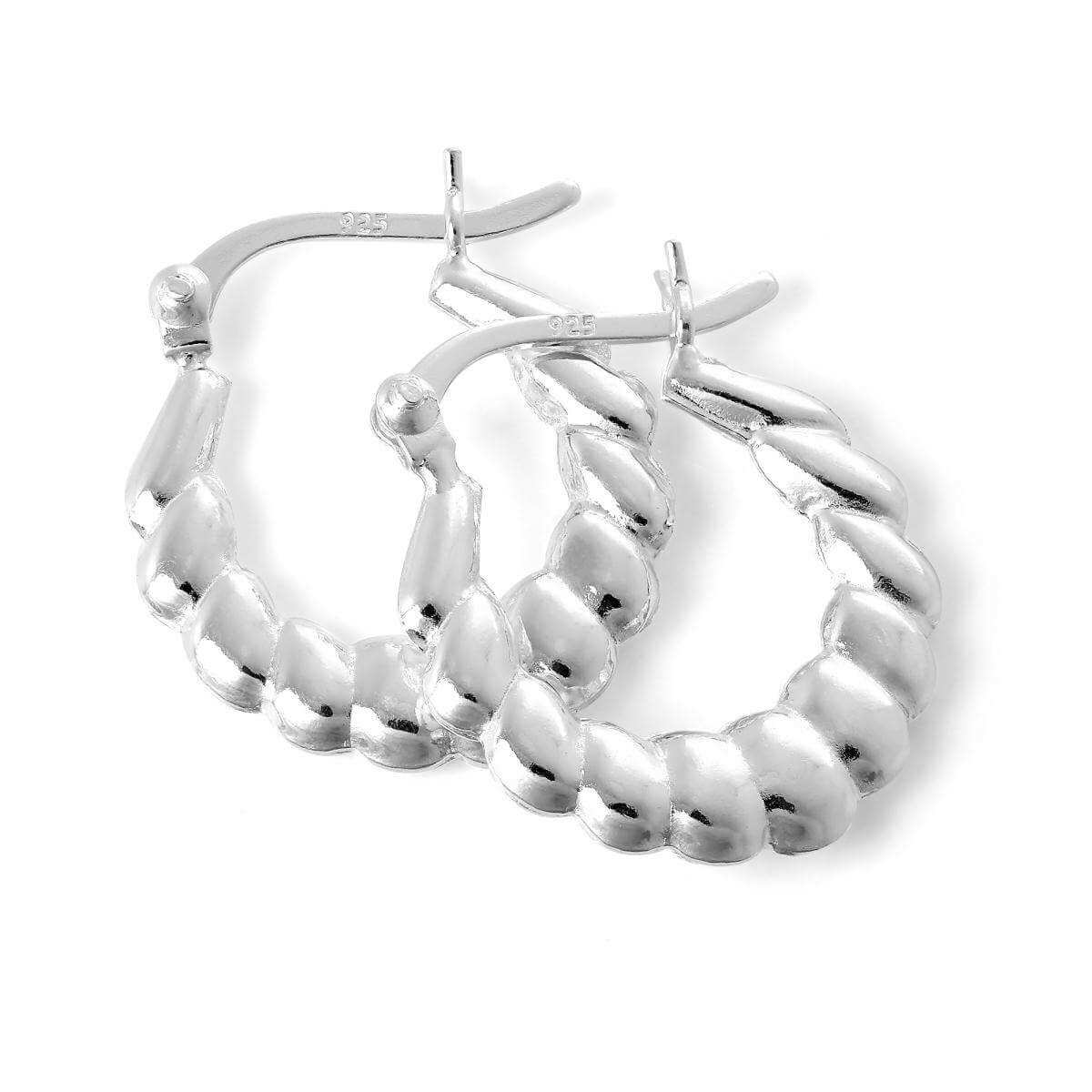 Sterling Silver Puffed Twist Creole 17mm Hoop Earrings