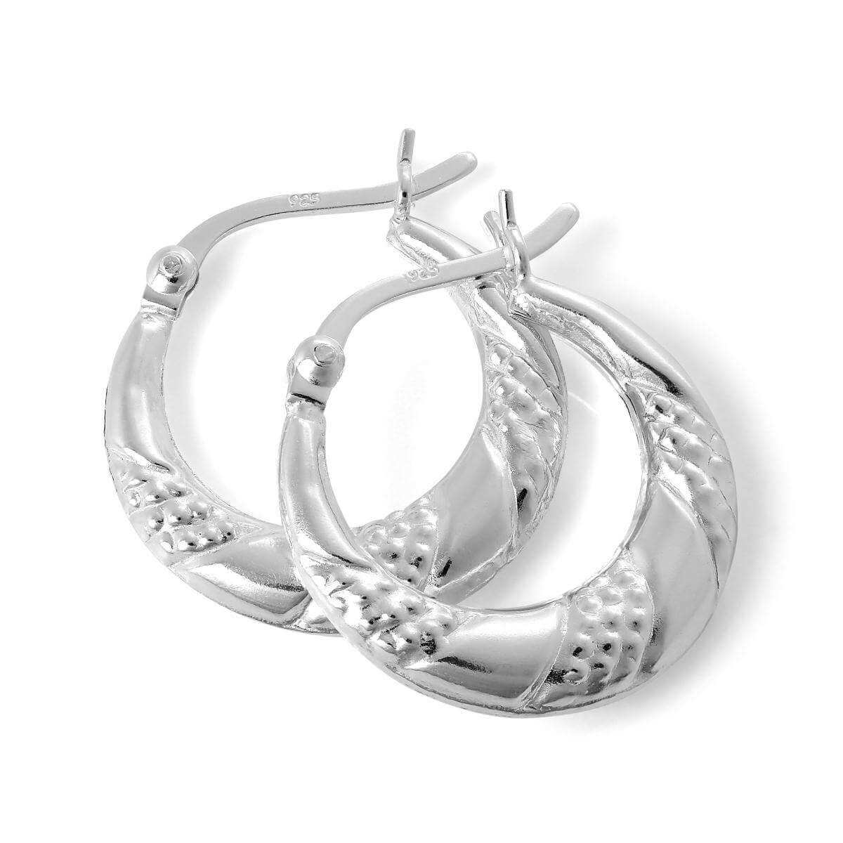 Sterling Silver Textured Twisted Creole 18mm Hoop Earrings