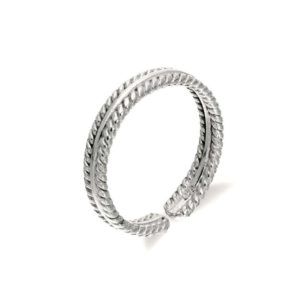 Sterling Silver Adjustable Ribbed Midi Toe Ring
