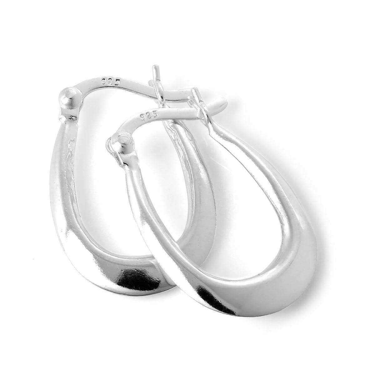 Sterling Silver Long Plain Loop Creole 13mm Hoop Earrings