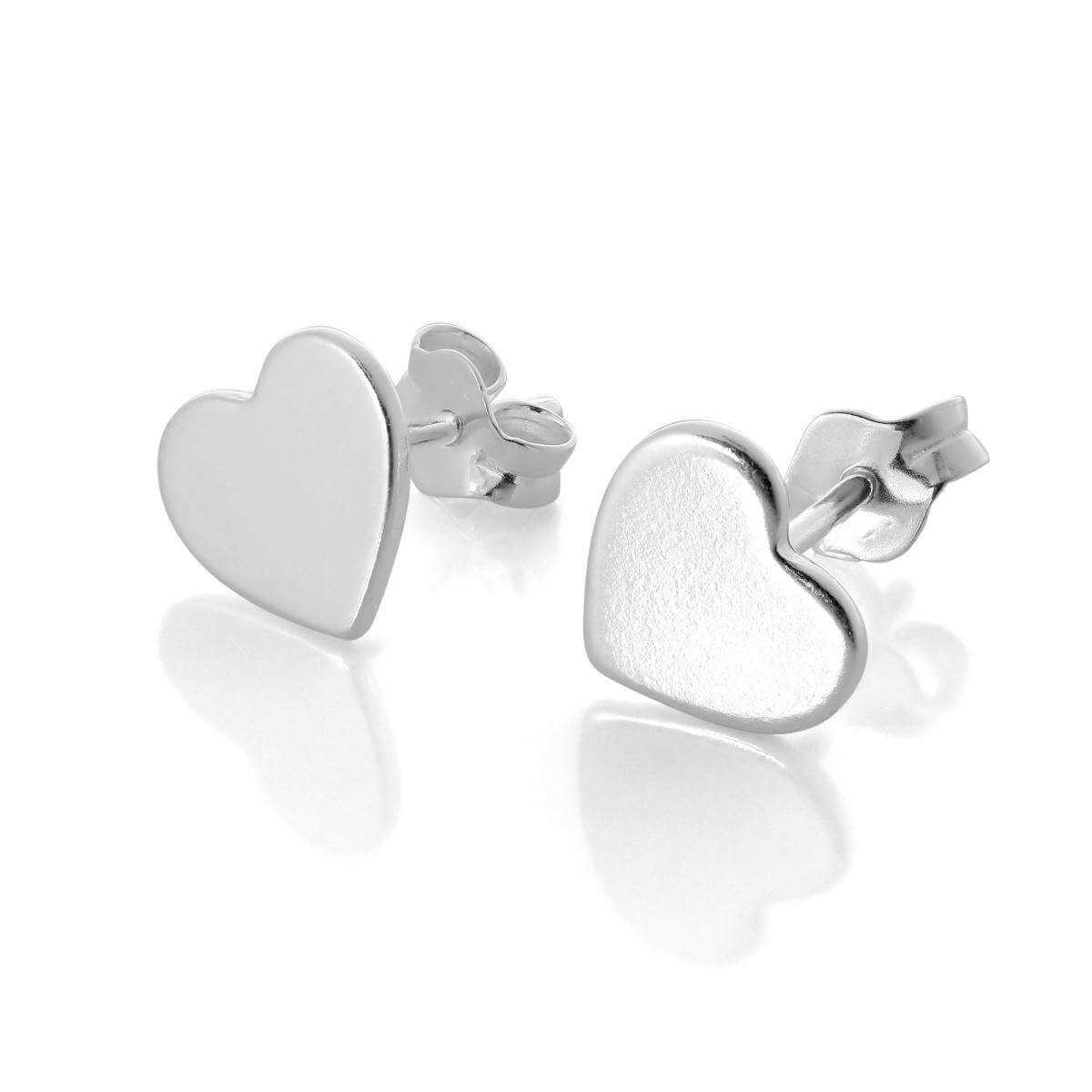Flat Sterling Silver Heart Stud Earrings