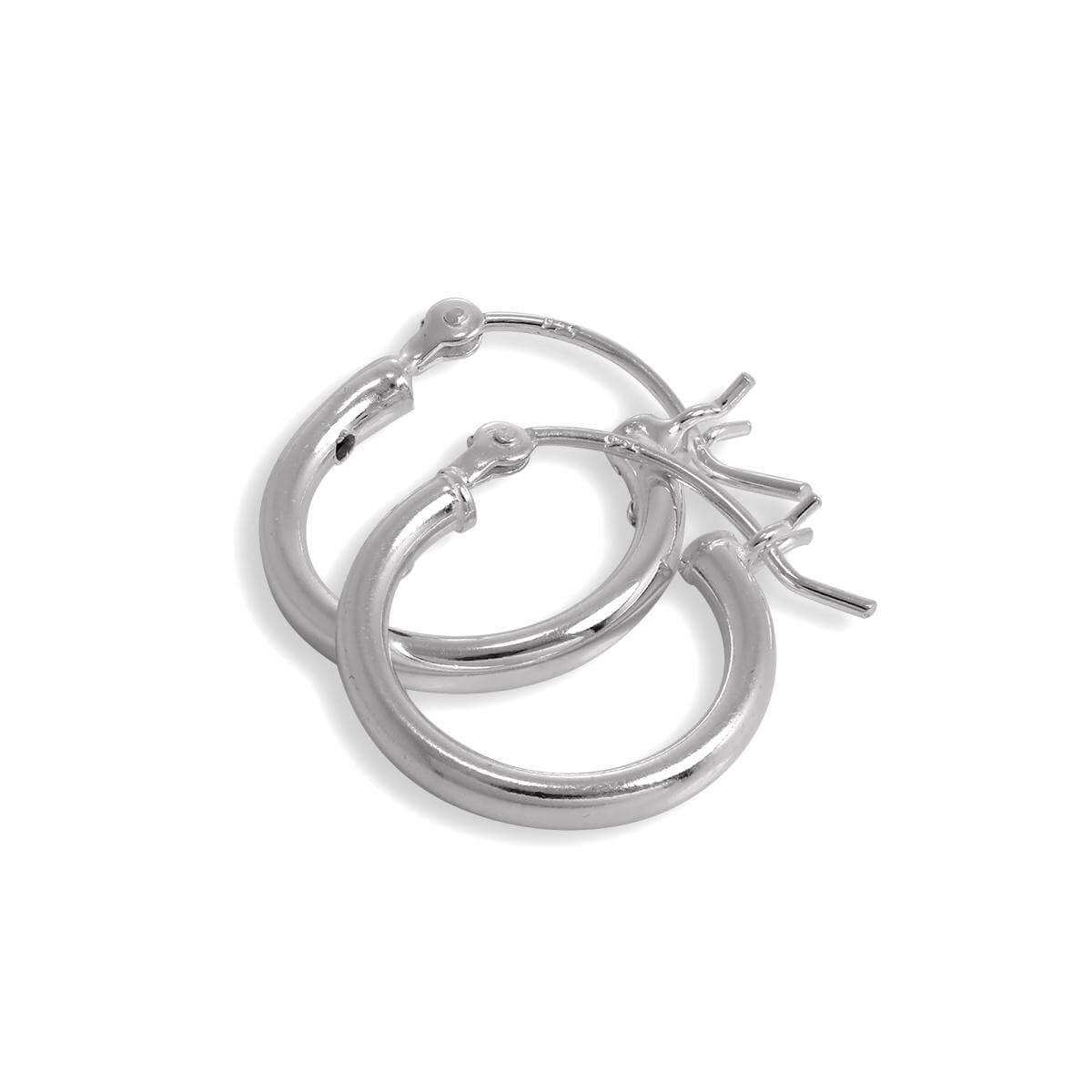 Sterling Silver 2mm Tube 15mm Sleeper Hoop Earrings