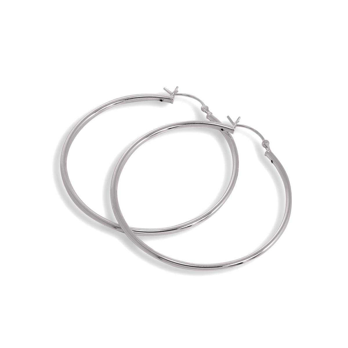 Sterling Silver 2mm Tube 50mm Sleeper Hoop Earrings