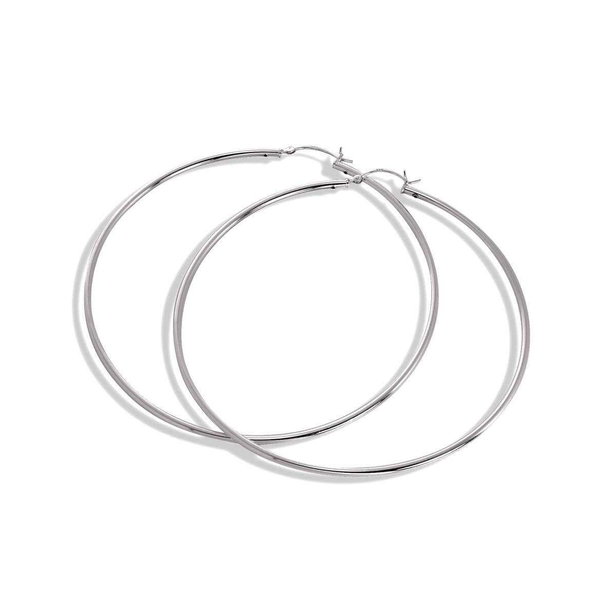 Sterling Silver 2mm Tube 80mm Sleeper Hoop Earrings