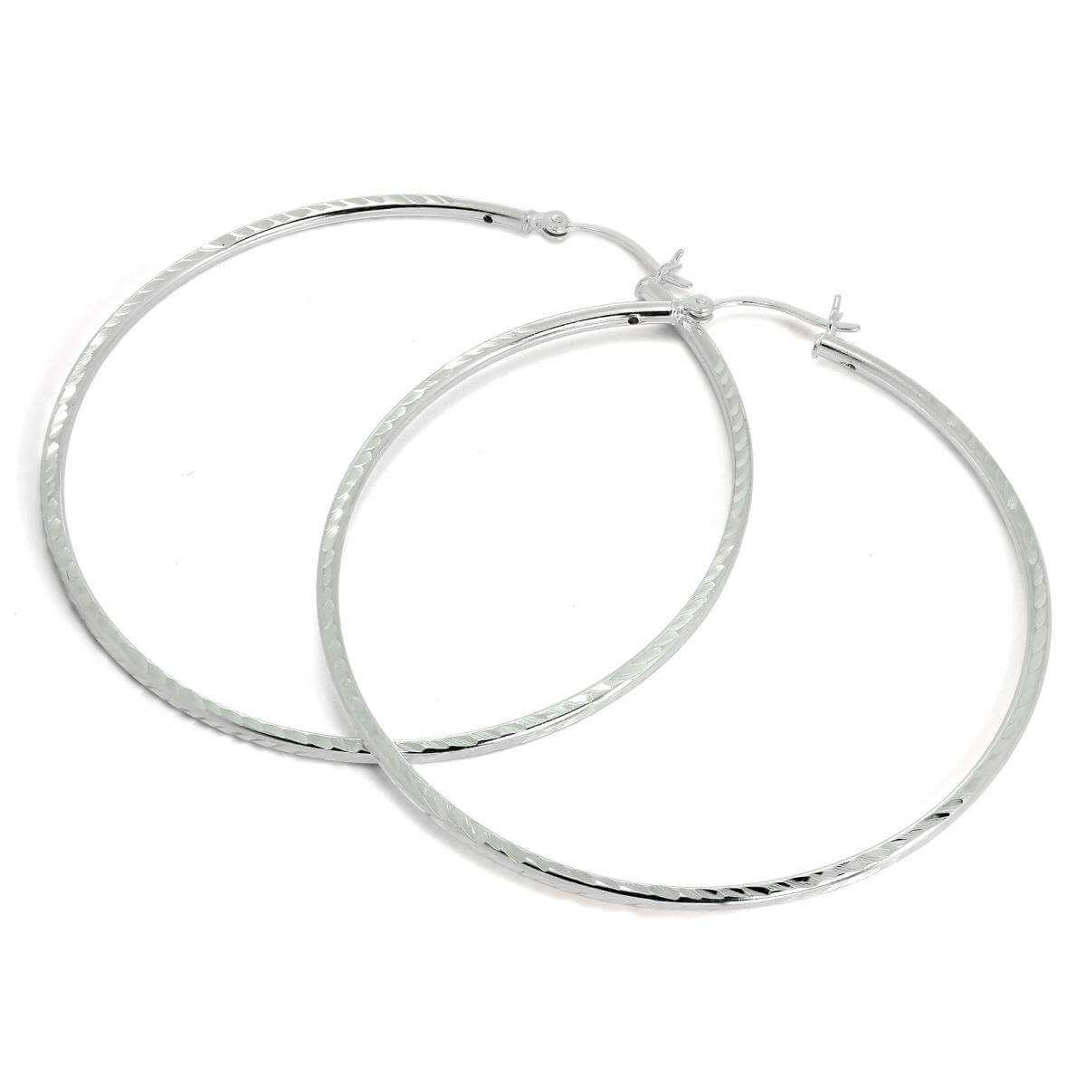 Sterling Silver 2mm Tube Diamond Cut Twist 60mm Sleeper Hoop Earrings