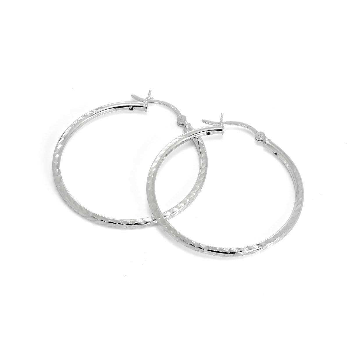 Sterling Silver 2mm Tube Diamond Cut Twist 35mm Sleeper Hoop Earrings