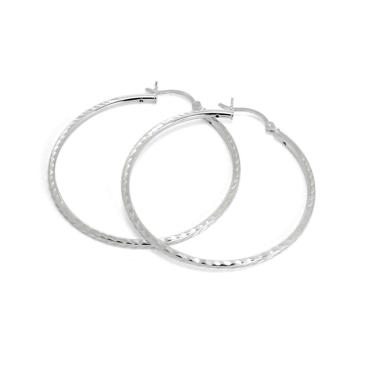 Sterling Silver 2mm Tube Diamond Cut Twist 45mm Sleeper Hoop Earrings