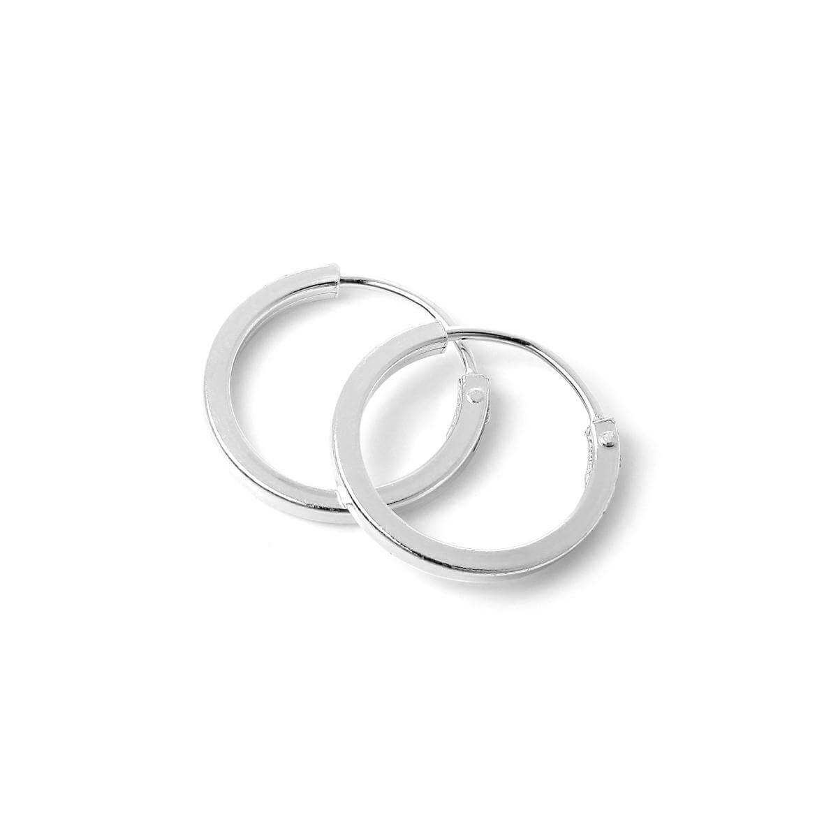 Sterling Silver 1mm Square Sleeper 12mm Hoop Earrings