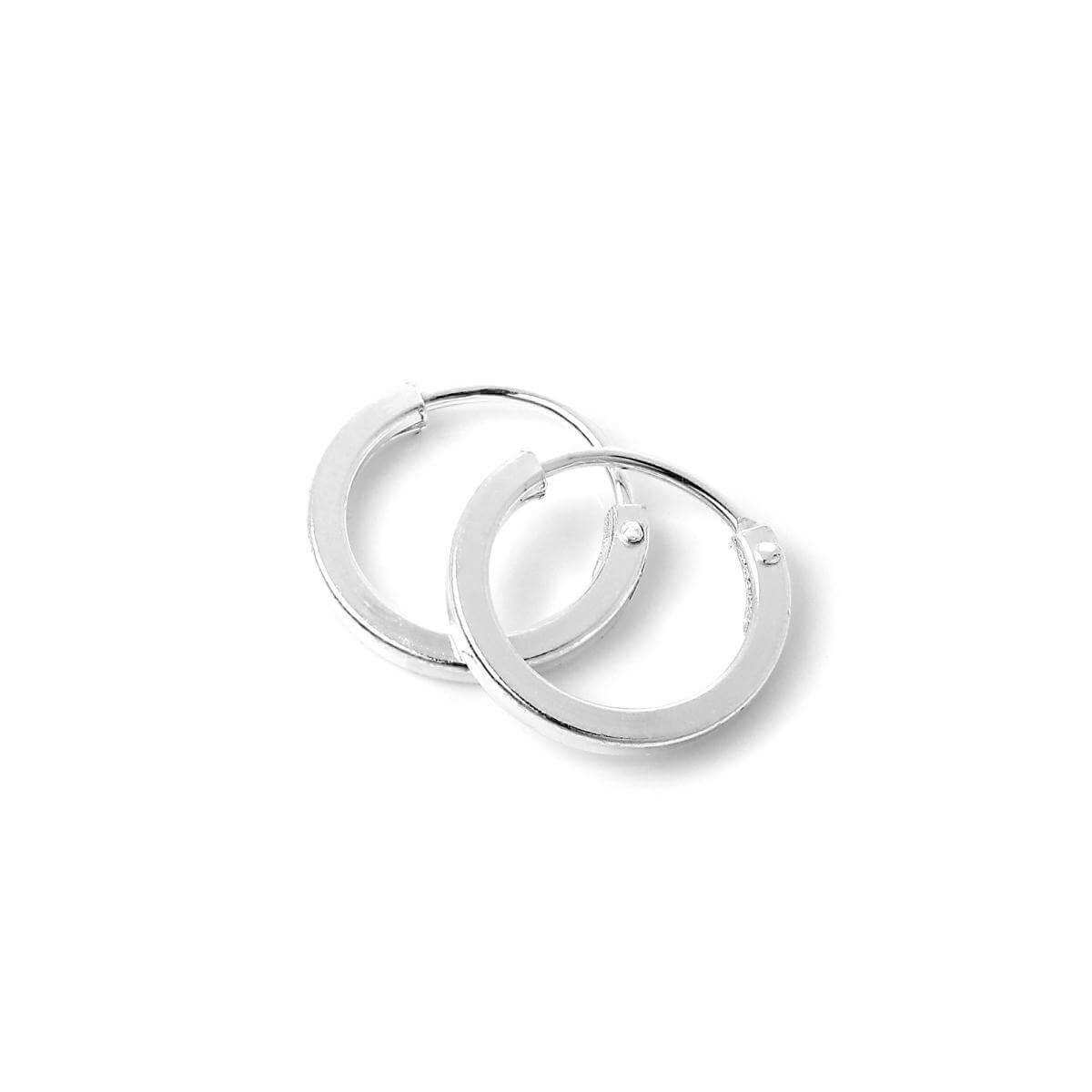 Sterling Silver 1mm Square Sleeper 10mm Hoop Earrings