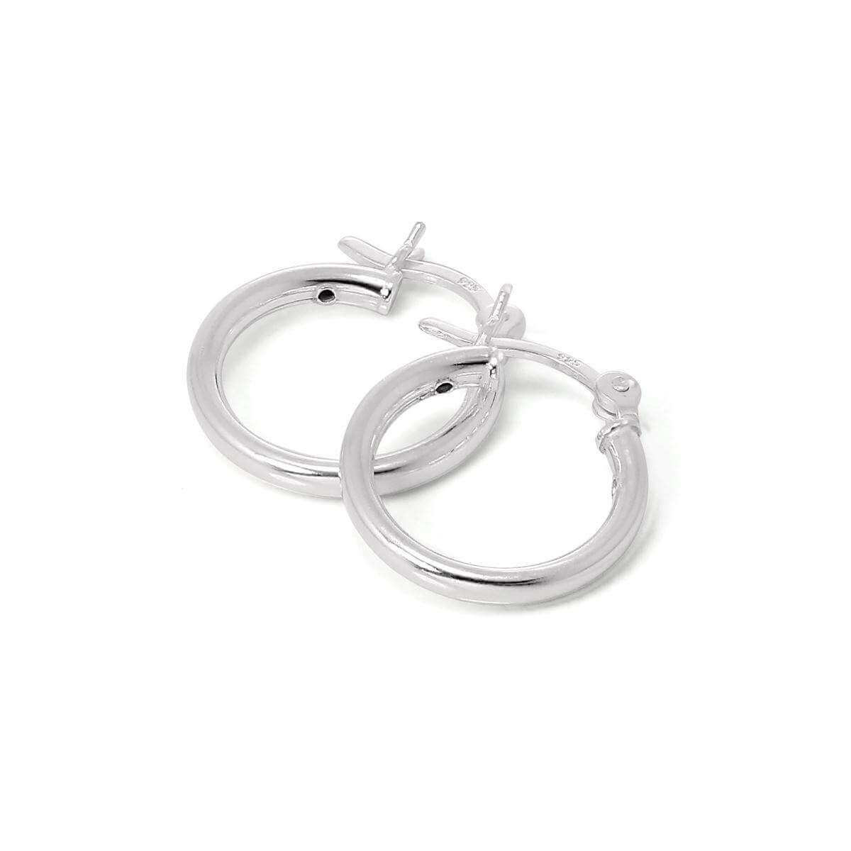 Sterling Silver 15mm Plain Sleeper 2mm Hoop Earrings