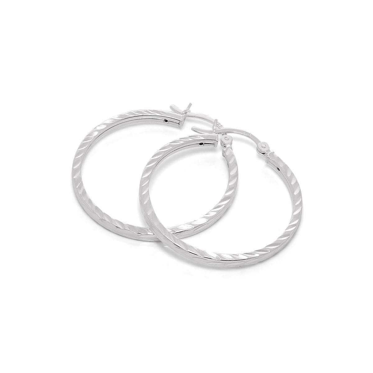 Sterling Silver Diamond Cut 2mm Square 30mm Hoop Earrings