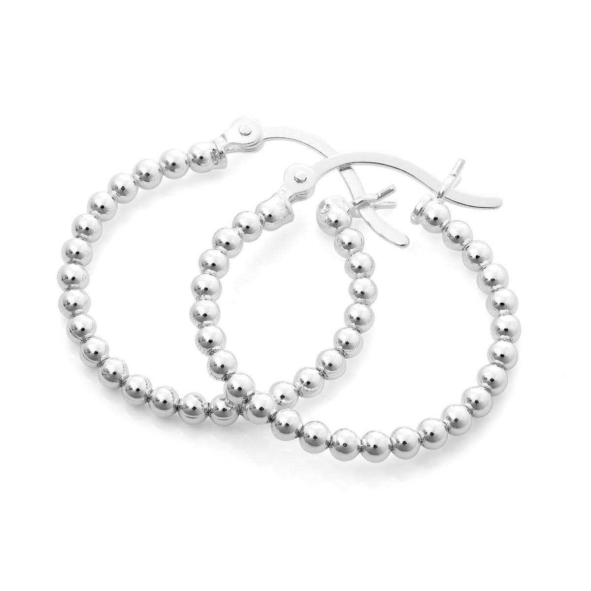 Sterling Silver 21mm Beaded Hoop Earrings