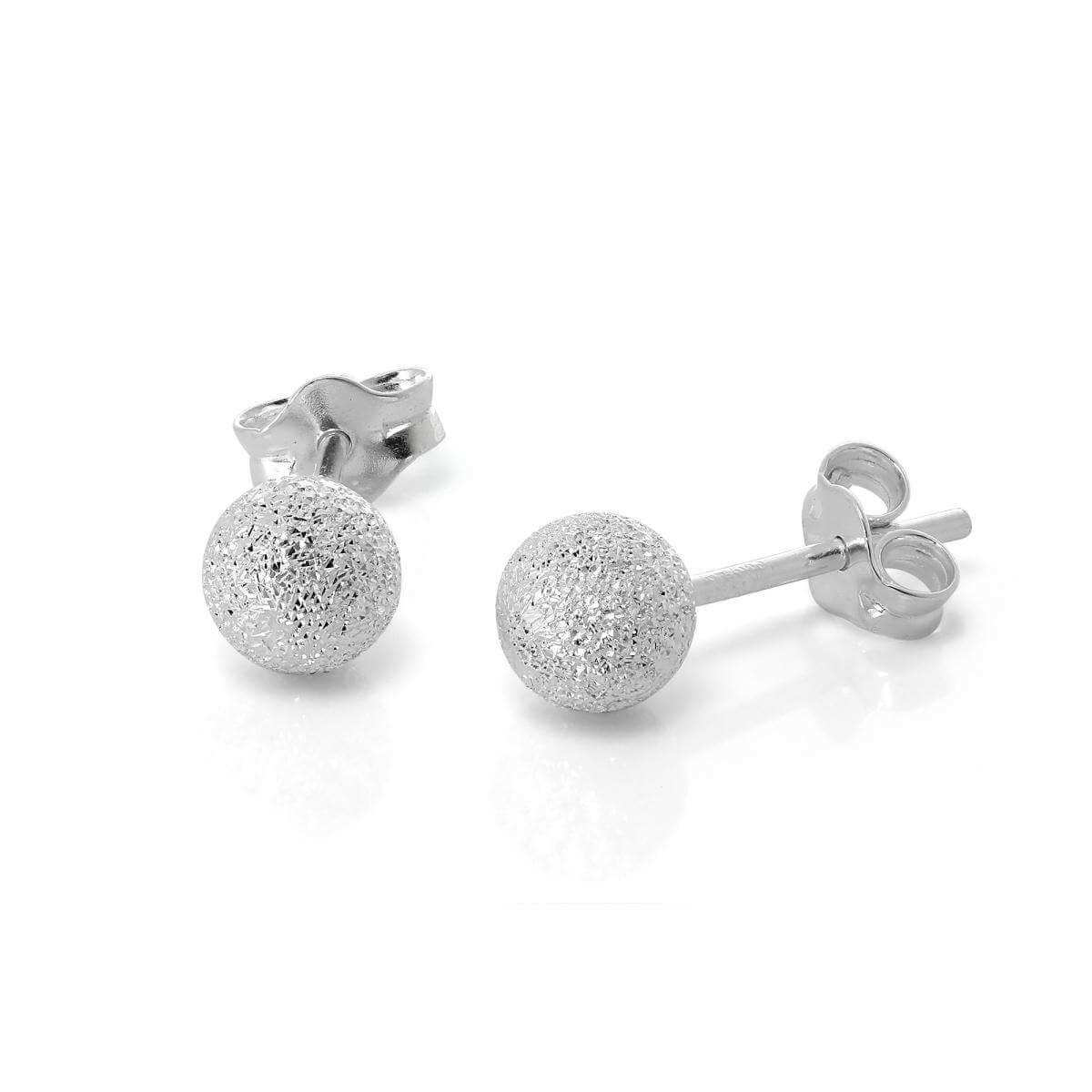 Frosted Sterling Silver Ball Stud Earrings 5mm