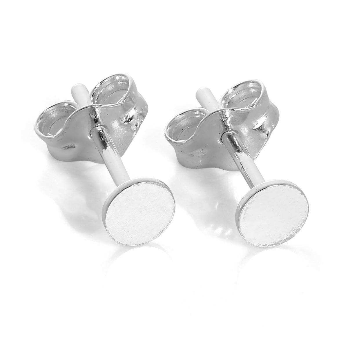 Sterling Silver Flat 3mm Round Disc Stud Earrings