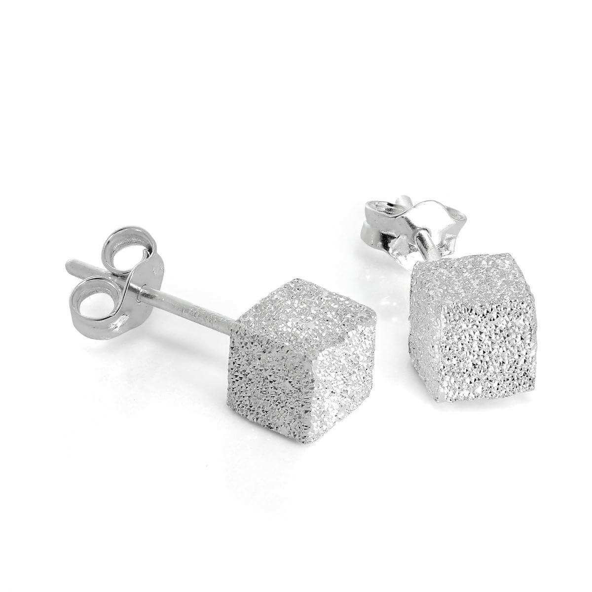 Frosted Sterling Silver 5mm Cube Stud Earrings