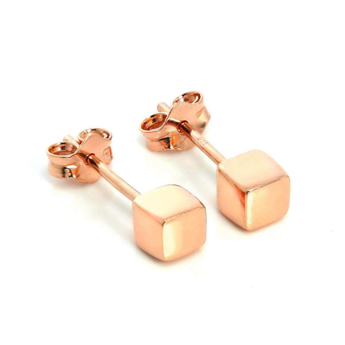 Rose Gold Plated Sterling Silver 4mm Square Cube Stud Earrings