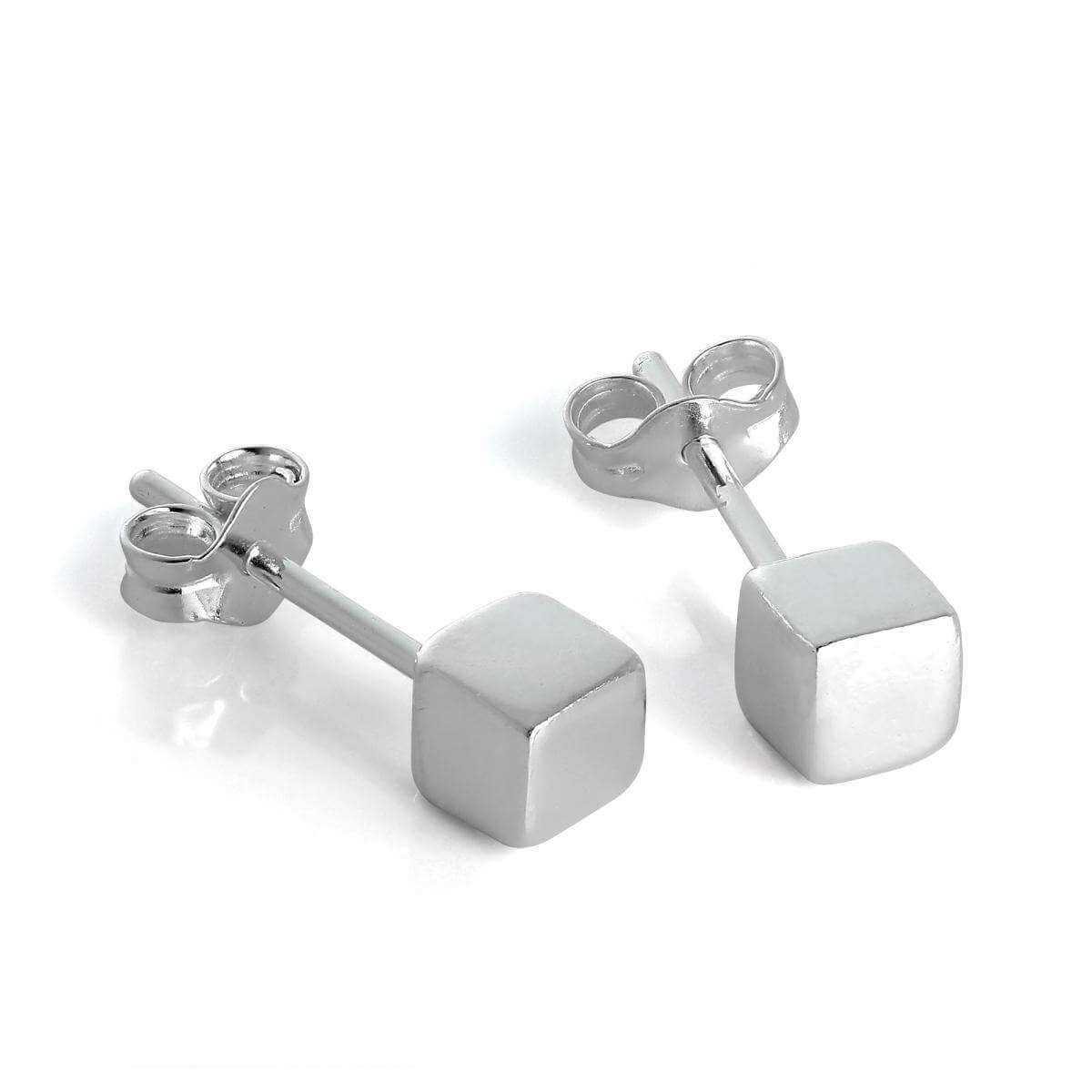Sterling Silver 4mm Cube Stud Earrings