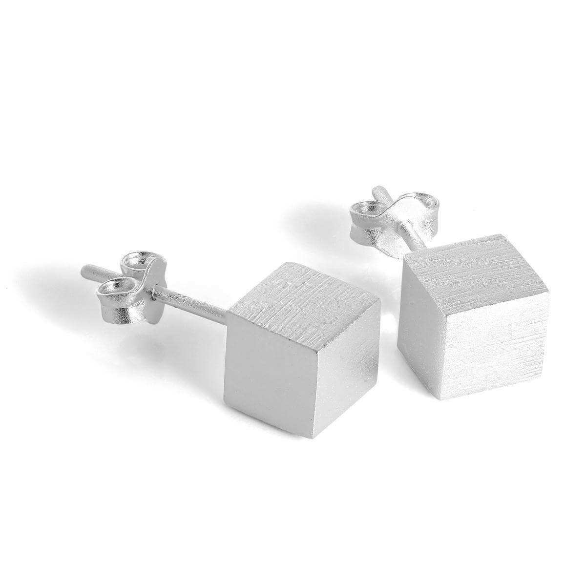 Brushed Matt Sterling Silver 6mm Cube Stud Earrings