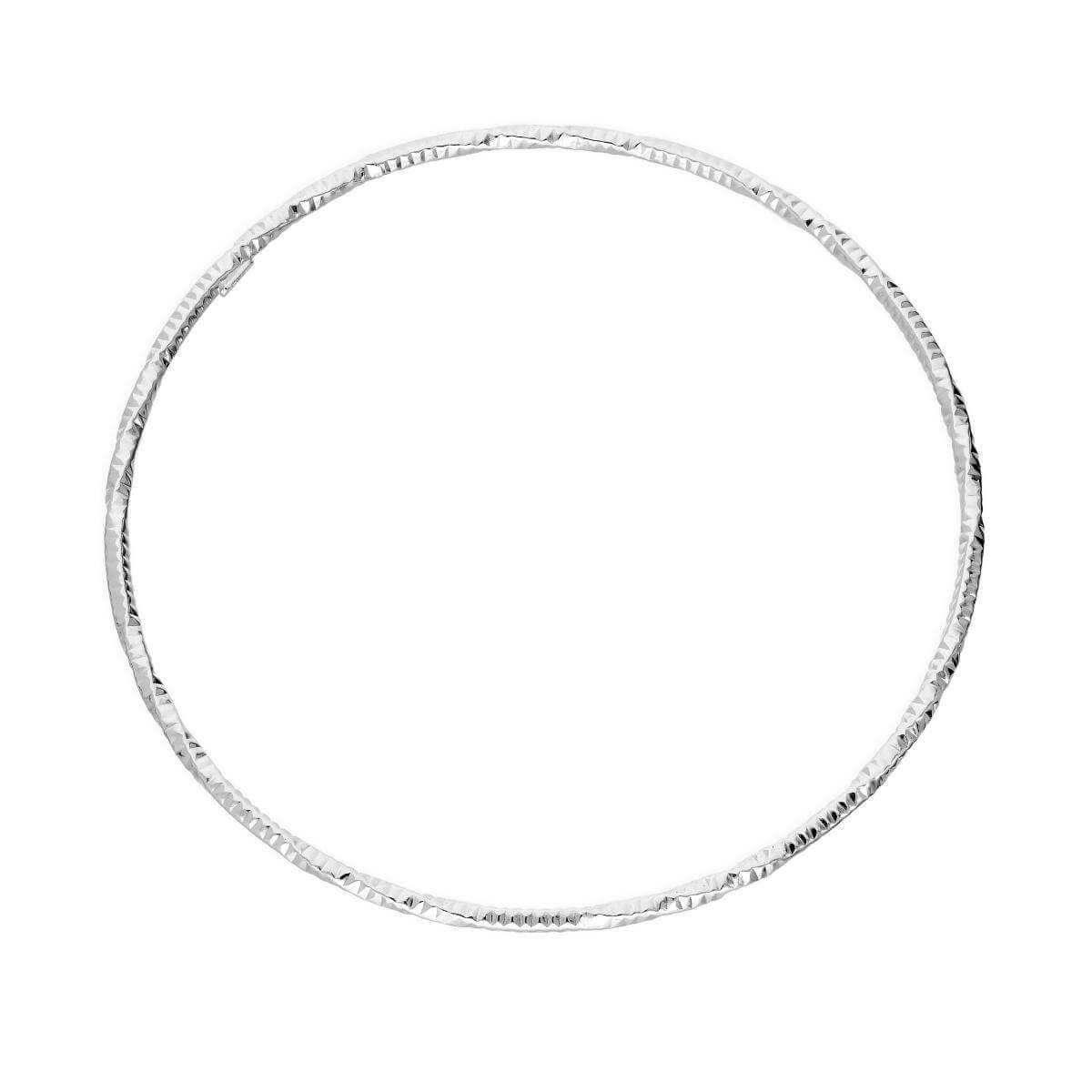 Sterling Silver Diamond Cut Twist Bangle
