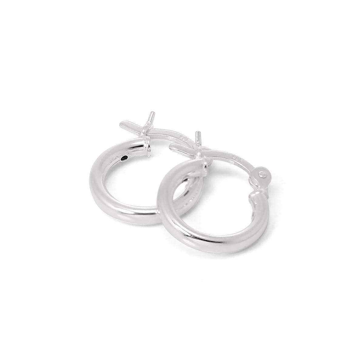 Sterling Silver 12mm Plain Sleeper 2mm Hoop Earrings