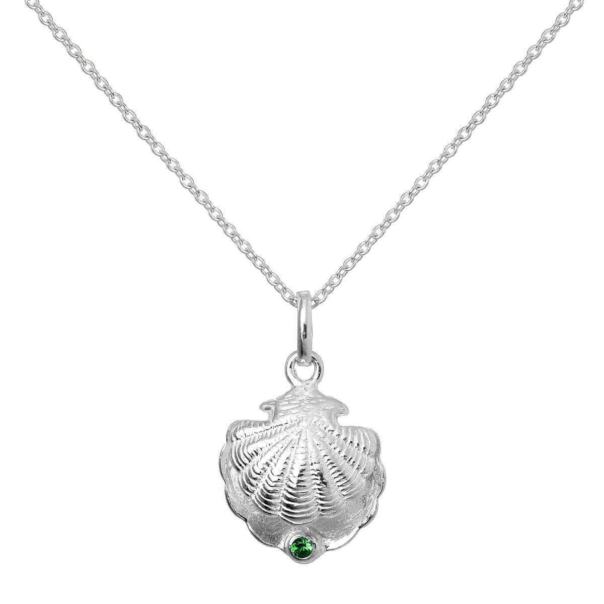 Sterling Silver Oyster Shell with CZ Crystal Emerald Birthstone Necklace
